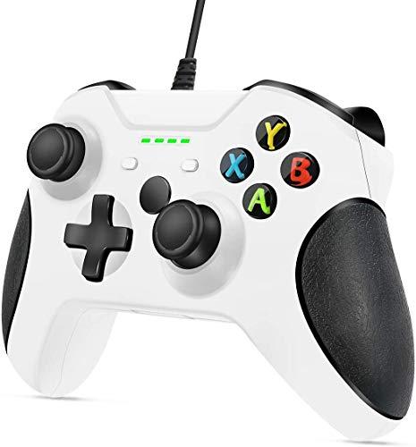 Wired Controller für Xbox One, Lampelc Xbox One Controller mit 3,5 mm Headset Audio Jack, Xbox Controller One Gamepads Joysticks für Xbox One / One S / One X / PS3 und PC (Weiß)