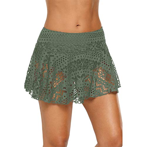 GDFSG Pantalones Cortos de natación elásticos Pantalones de Bikini de Playa de Verano Traje de baño de Mujer Falda de Traje de baño Corta de Encaje ahuecada hacia Fuera(LC410795-Verde Militar,L)