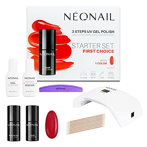 NEONAIL Kit de manicura sempermanente - FIRST CHOICE Starter Set Esmalte semipermanente Sexy Red Rojo, Lámpara LED, Accesorios