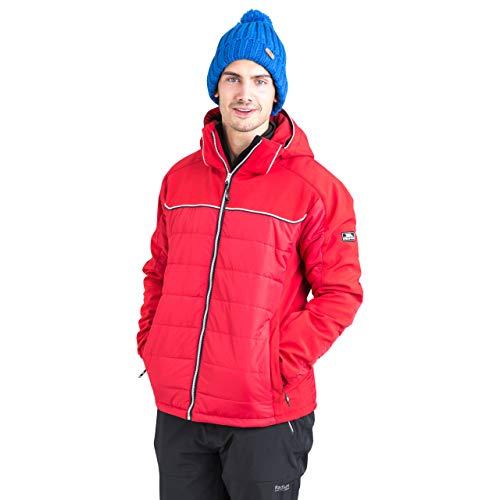 Trespass Drafted, Red, L, Gepolsterte Warme Wasserdichte Stretch Skijacke mit abnehmbarer Kapuze, Schneefang & Skipasstasche für Herren, Large, Rot