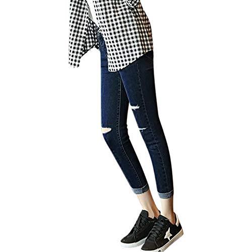 LIUguoo kussenslopen Dames Hole Jeans, Vrouwen Mode Denim Cropped Broek Stretch Slim Trendy Broek, Zwart