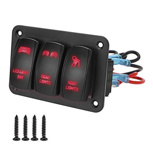 YINLONG LED Light 3 Gang Rocker SHIPTER Panel para para AUTOMÁTICAR AUTOMÁTICO Marino ATV UTV Panel de Control 12V 24V IP65 Interruptor de Palanca Impermeable (Color : Red)