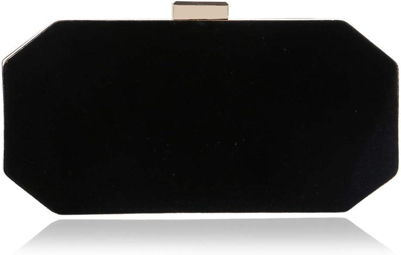 Sturdy Fashian Silk Suede Dinner Handbag Women's High-end Party Handbag Evening Clutch Large Capacity (color   Black)