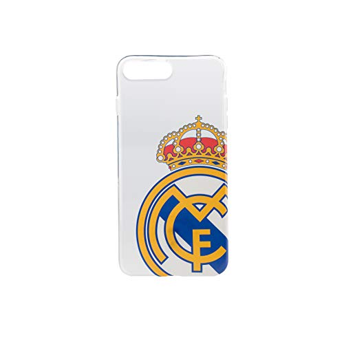 Real Madrid Funda Smartphone - Transparente con el Escudo Oficial y Compatible con Apple iPhone 7/8 Plus