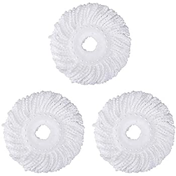 3 Pack Mop Head Replacement for Hurricane Spin Mop Replacement Head Microfiber Spin Mop Refills Easy Cleaning Round Shape Standard Size
