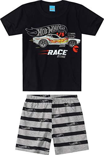 Conjunto Camiseta + Bermuda, Malwee Kids, Meninos, Preto, 8