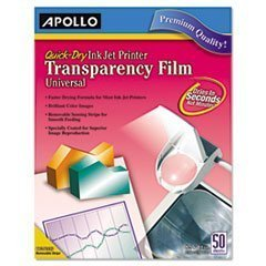 MOT3 - Quick-Dry Transparency Film, Removable Sensing Stripe, Letter, Clear, 50/Box