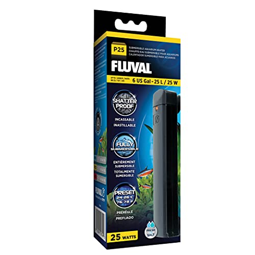 Fluval P25 Submersible Aquarium Heater for Up to 6 Gallons, 25 Watts