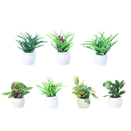 EXCEART 7 x Artificial Mini Pot Plants in Tiny Miniature Decorative Fake Grass Flower Pots for Office Indoor Garden Bathroom Home Table Decor