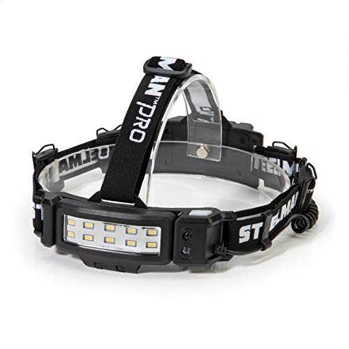 Steelman Pro Slim Profile Rechargeable LED Motion Activated Headlamp, 250-Lumen, 3 Brightness Settings, Illuminates up to 20 Meters, Removable Hard Hat Clips, Water-Resistant