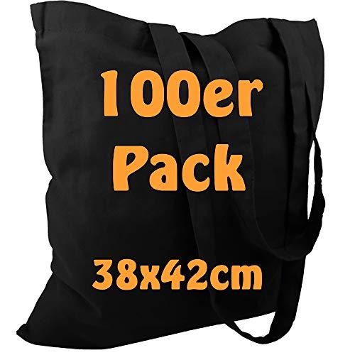 Cottonbagjoe Baumwolltasche Jutebeutel unbedruckt mit Zwei Langen Henkeln 38x42cm (Schwarz, 100 Stück)
