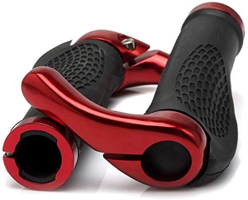 HUGEE Puños Manillar de Bicicleta - Diseño Ergonómico Antideslizante Caucho Bike Agarre con Aluminio Cuernos,Aptas para Bicicleta Moto Montaña MTB BMX Plegable Bicicleta (Rojo)