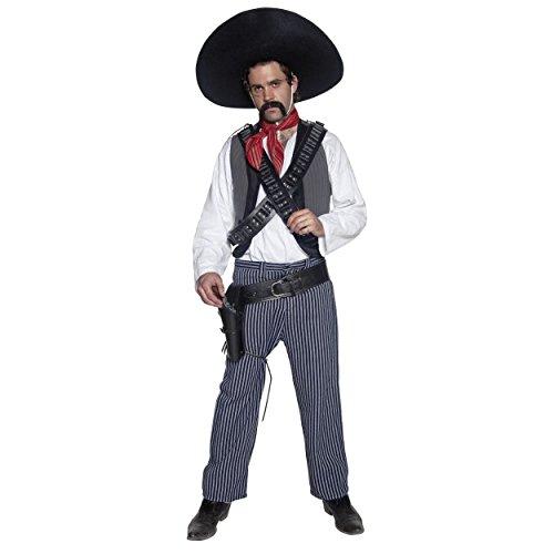 Disfraz de vaqueros de bandera de México occidental para hombres y adultos, con cinturón de pistola bandolera