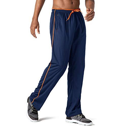 CRYSULLY Men's Straight-Leg Pants Bodybuilding Joggers Fitness Basic Urban Work Pants Navy Orange