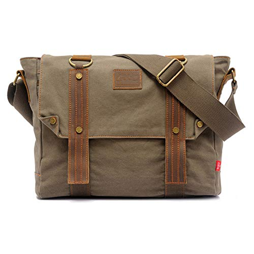 Canvas Messenger Bag Small Laptop Bag Vintage Bookbag For School Crossbody Satchel Messenger Bag (Army Green)
