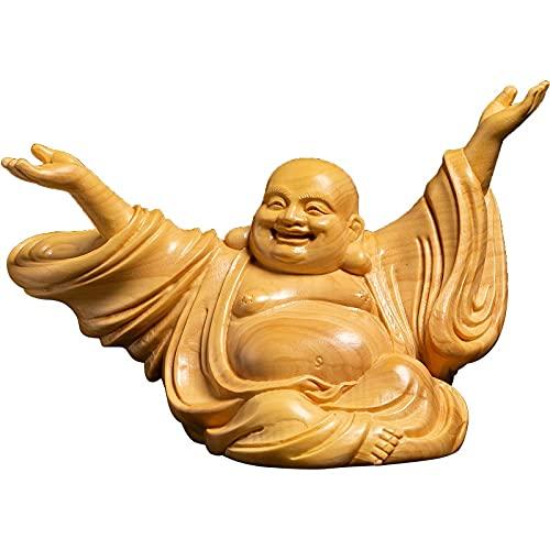 HQQ China alegría riendo Buda Escultura Estatua a Mano Tallado Sólido Madera Buda Estatua Decoración del hogar Estatuillas