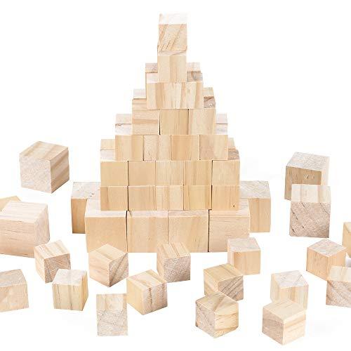 AILANDA 120 Piezas Cubos de Madera Natural Bloques de Madera para Sellos, Artes y Manualidades Plantillas Proyectos de Alfabeto y Números y Bricolaje, 2 x 2cm, 3 x 3cm