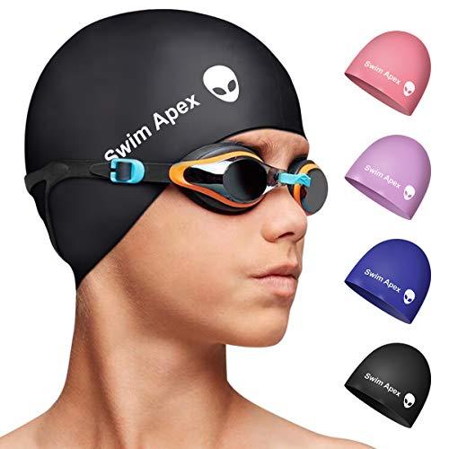 Swim Apex Silikon-Badekappe für Kinder, für Mädchen, Jungen, Teenager (Alter 2–12 Jahre), langlebige Silikon-Badekappe für Kinder, Jugendliche, Jungen, Mädchen(schwarz)