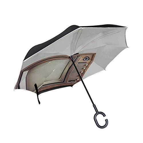 Double Layer Inverted Fold Umbrella Retro-Vintage Orange TV Invert Umbrellas Klappstühle mit Regenschirm Winddichter UV-Schutz für Regen mit C-förmigem Griff