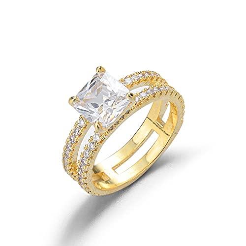 YANGYUE Gioielli in Oro 14 carati Anello Nuziale a 4 Punte per Donna Anello di Fidanzamento con Diamante da 1 carato Femme Anello Sposa Regalo di San Valentino per Ragazza