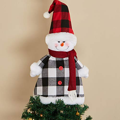 Skylety Large Snowman Tree Topper Christmas Snowman Tree Topper Ornaments with Hat and Scarf for Christmas Holiday Party Home Decorations