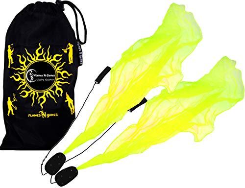 Pro ANGEL POI Set (UV Gelb) Flames N Games Spiral Poi +Stoff Reisetasche! Swinging Poi und Spinning Pois! Pois für Anfänger und Profis.