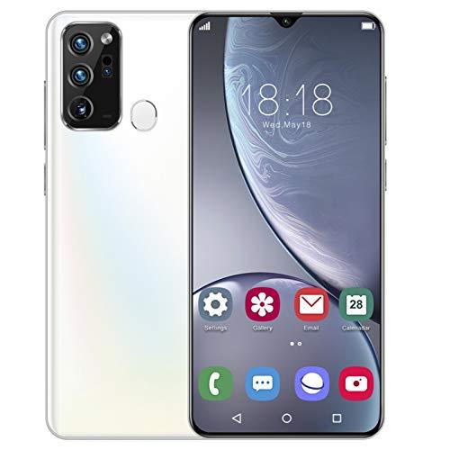 Smartphone desbloqueado, teléfono celular Incell HD LCD 19: 9 6.5 '', MTK6889 para Android 10.0, reconocimiento facial de huellas dactilares, doble modo de espera de tarjetas, WIFI, A-GPS(blanco)