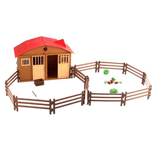 Fenteer Azienda Agricola Giocattolo,Corredi di Costruzione della Scena del Recinto del Cottage della Fattoria DIY Giocattolo Educativo