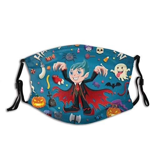 Bufanda para la cara, diseño vintage de póster de Halloween, con pasamontañas, unisex, reutilizable, resistente al viento, antipolvo, con filtros, protección bucal