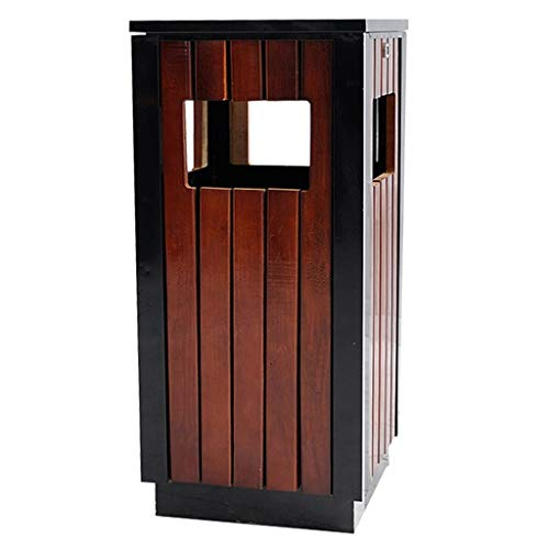 zlw-shop trash can Large Outdoor Steel Wood Trash Can, 4 Entrances, with Locking Cover, 80cm High Brown trash can bathroom