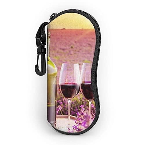 AOOEDM Estuche blando para gafas de sol con flor de vino tinto, estuche para gafas para mujeres y hombres, estuche para gafas con cremallera de neopreno ultraligero