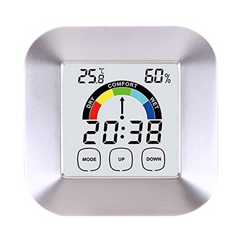 Higrómetro de temperatura ambiente Termómetro digital Higrómetro Medidor de humedad y temperatura interior de alta precisión para la oficina en casa Bodega de vinos, etc. - Pantalla táctil com