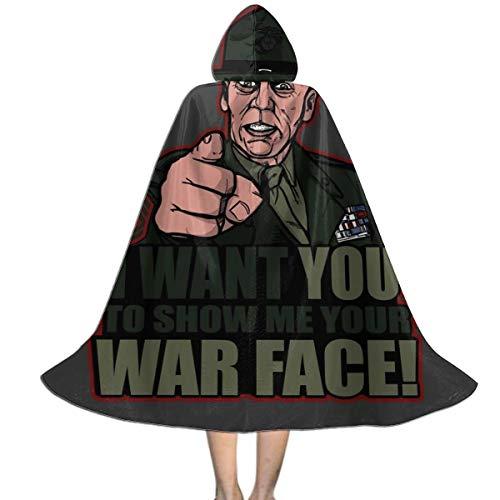 NUJSHF War Face Gunnery Sargento Hartman - Chaqueta de Metal para niños, Unisex con Capucha, Capa para Halloween, Navidad, Fiestas, Disfraces, Cosplay
