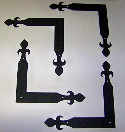 Best Bargain Carriage House Garage Door Corner Brackets Decorative Hardware - Fleur-De-Lis