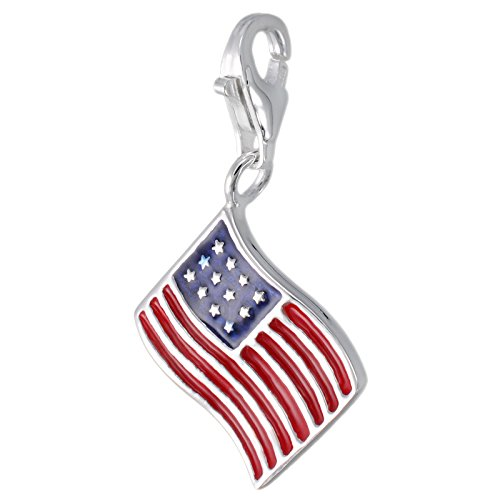 MELINA Charm Anhänger Fahne Flagge USA Amerika Emaille Silber 925 1801774