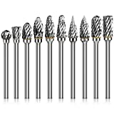HOMEIDOL 10PCS Tungsten Carbide Rotary Burr Set, 1/8 Inch(3mm) Shank WoodCarvingBit Cutting Burrs Tool for Grinder Drilling, DIY Wood-Working Carving, Soft Metal Polishing, Engraving