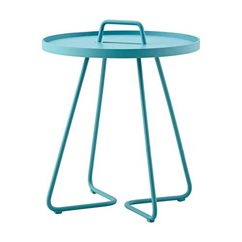 Modern Design 2 Size Small Metal Loft Side Table with Handle, Fashion Design Metal Loft Side Table, End Table, Tea Coffee Table,52Cm Blue