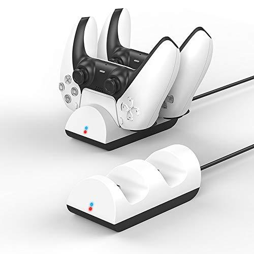 Goobay 52765 Ladestation für PS5 Controller, Ladegerät für 2x DualSense Wireless Controller der Playstation 5, USB-C, Weiß, Slim