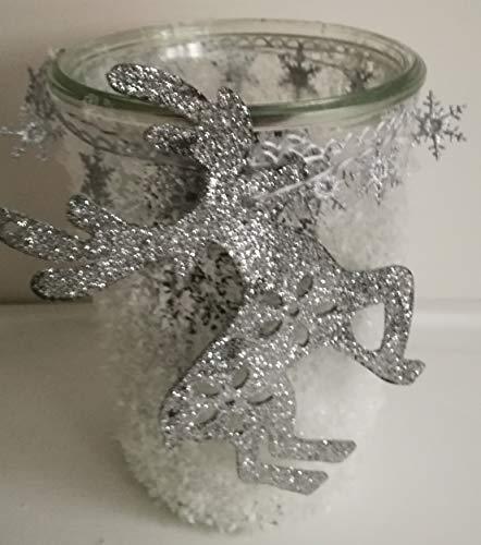 Windlicht Elch Weihnachten Glas mit Kerze