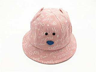 Baby Decoration Hat Baby Ear Printing Packable Soft Bucket Cap Toddler Sun Protection Hat Sun Visor for 6-20 Months(Pink) Cute Cap (Color : Pink, Size : 46-52cm)