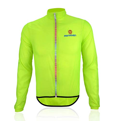 Morethan ウインドブレーカー サイクル ジャケット 超軽量 防風 撥水 バックポケット付き メンズ WVP-007、蛍光グリーン、M