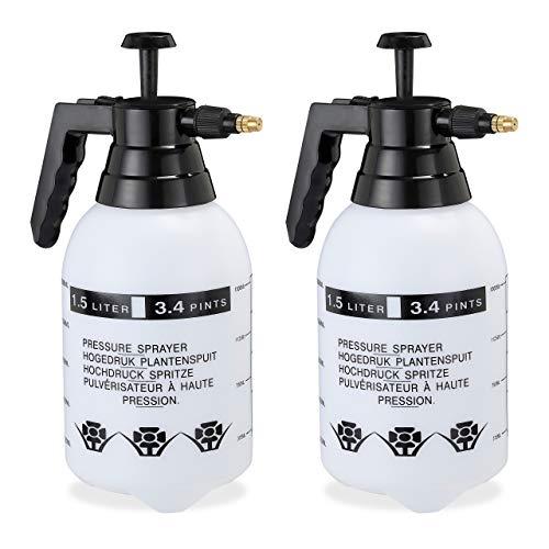 Relaxdays 2 x Pumpsprühflasche, einstellbare Messingdüse, Pflanzen Bewässerung, Schädlingsbekämpfung, 1,5 l Drucksprüher, schwarz