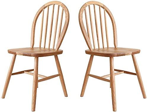 ZGYZ Juego de Muebles Modernos de 2 sillas Windsor, sillas de Madera rústica, Muebles de Comedor Vintage sin Brazos, sillas de Comedor con Respaldo de Flecha Nostalgia, Roble (2)