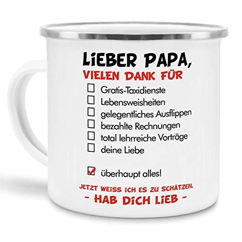 Tassendruck Vatertags-Tasse mit Spruch Lieber Papa - Hab Dich lieb - Familie/Geschenk-Idee/Danke/Emaille groß