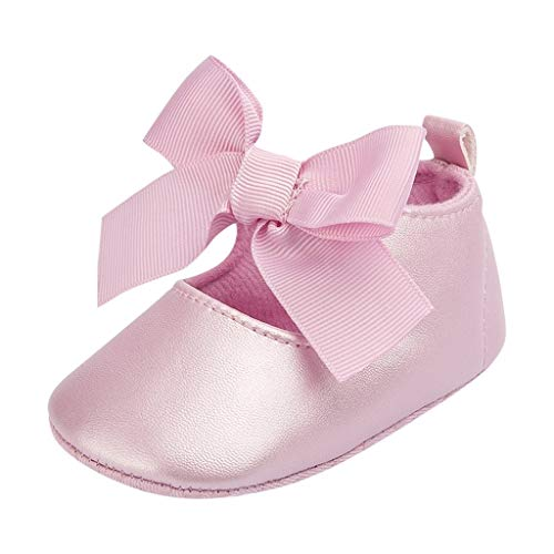 LIJUCH Mary Jane Flats Anti-Slip Rubber Soft Sole Toddler Princess Dress Shoes First Walk Bow Knot Tie Silk Shoes
