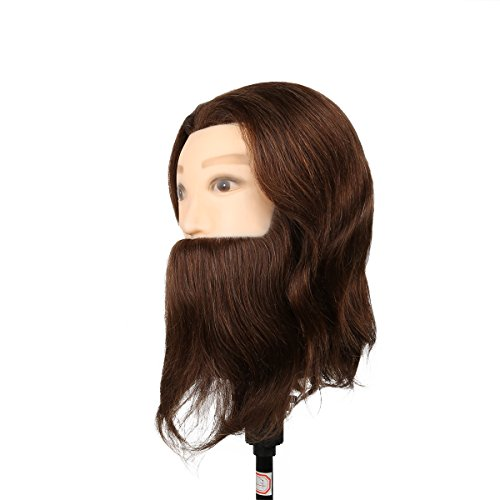 El estilo de la cabeza del maniquí hombre con el ejercicio Barba Peinado - 80% y el 20% del pelo natural del pelo Estudio Animal en cosmética profesional - Brown - Besmall