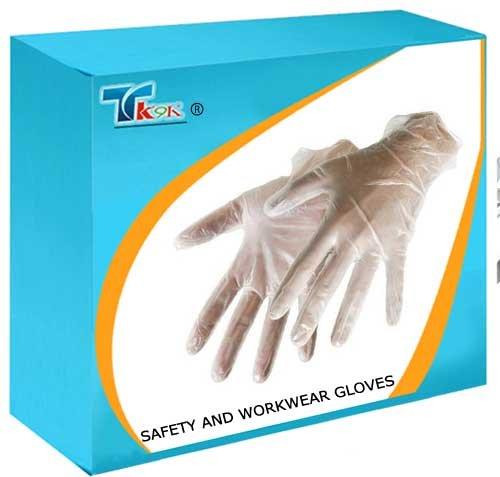 Preisvergleich Produktbild TK9K - Sicherheit und Workwear Handschuhe Vinylhandschuhe 100pk Vinyl groß Einwegteller pre-gepudert. Beidhändig. Große Größe.