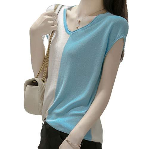 Damen T-Shirt Kurzarm Blusen Shirt Gestricktes T-Shirt V-Ausschnitt Farbanpassung Loser Kopf Stretch Casual Bluse T-Shirt,Light Blue,M