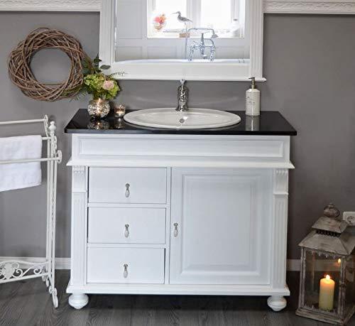 Waschtisch Granitstein-Platte   Waschbeckenunterschrank mit Waschbecken Landhaus Nostalgie Badmöbel Holz