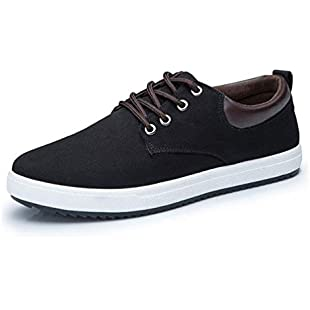 Men Casual Shoes Spring Summer Canvas Lace Up Flats Men Shoe:Qukualian